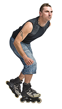 Side view of inline skater