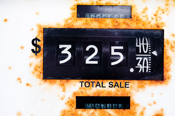 Close-up of price of gas on pump