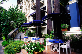 Table and chairs outside restaurant, San Antonio, Texas