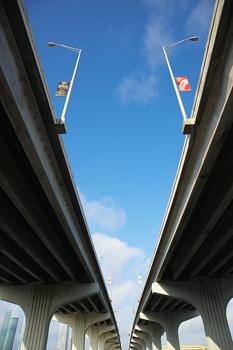 Wide angle view under viaduct in Miami, Florida