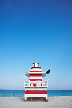 Lifeguard tower with lighthouse motif in Miami, Florida