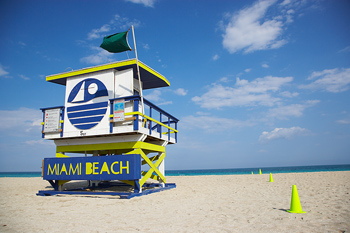 Colorful lifeguard station on beach in Miami, Florida