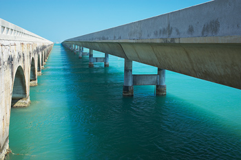 Viaduct and bridge over water in Miami, Florida