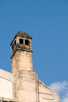 Chimney on roof of building in Spain