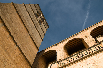 Low angle view of church tower in Spain