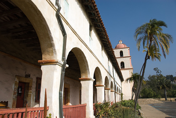 Exterior of Spanish mission in California, USA