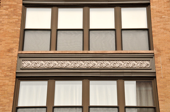 Exterior of building with decorative molding