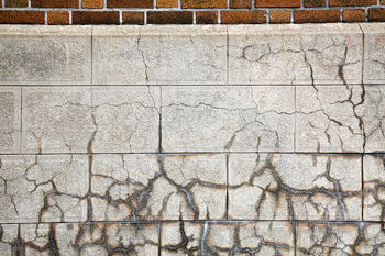 Cracks in blocks on exterior of building