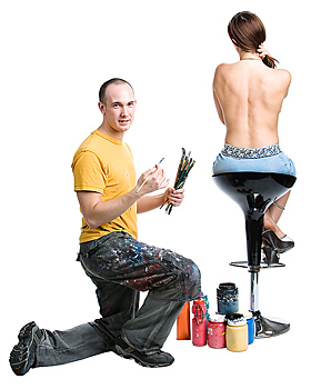 Artist about to paint back of topless woman