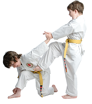 Two boy martial arts students demonstrating combat